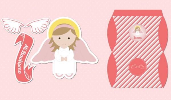 kit imprimible angelita bautismo