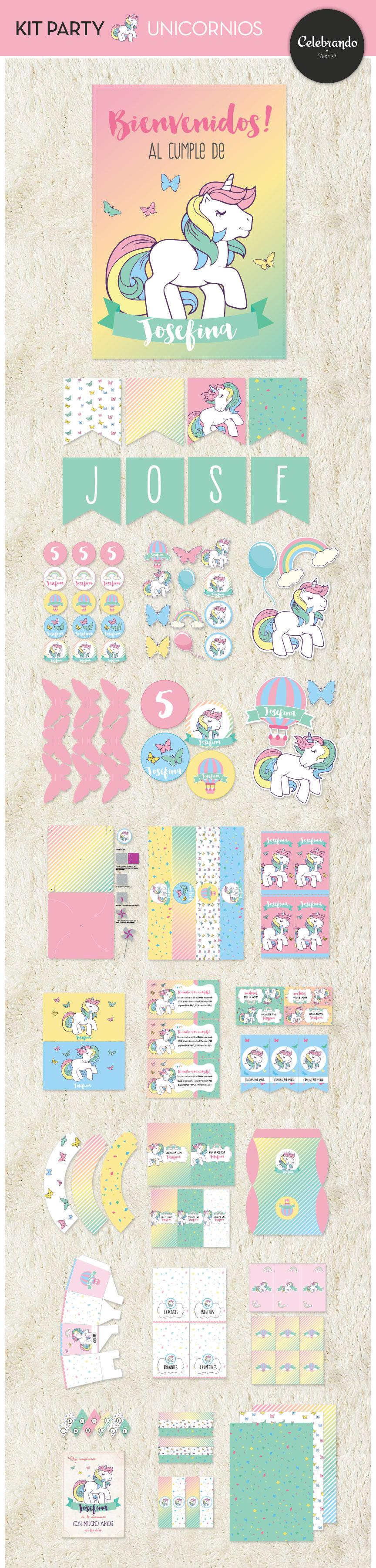 Kit imprimible fiesta unicornios
